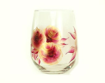 Hand-Painted Stemless Wine Glasses - Deep Red and Gold Roses, Set of 2 - Crimson Maroon Custom Personalized Hand Painted Wine Glass Glasses