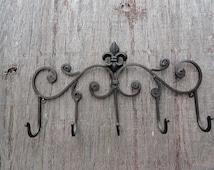 Fleur de Lis metal wall decor Shabby and Chic Iron coat hanger pot hanger wall decor