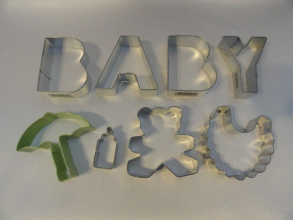 baby shower cookie cutter set 8pc baby bib baby bottle teddy bear