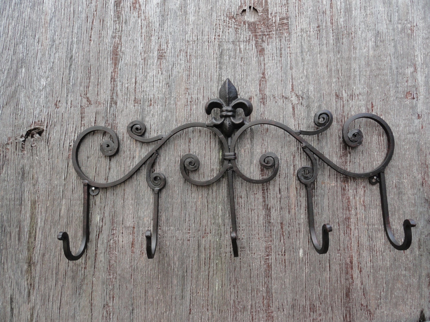 Fleur De Lis Metal Wall Decor Shabby And Chic Iron Coat Hanger