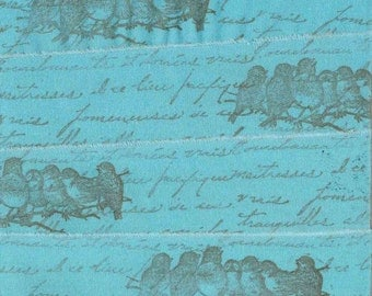 handmade trim stamped ribbon turquoise song birds vintage french inspired Paris script  c 1010 . ....oohlala