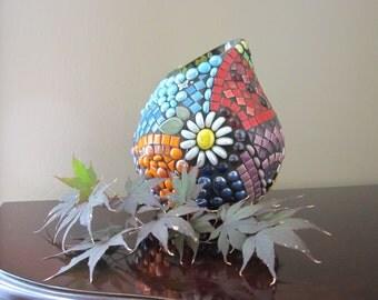 Large mouth vase holds a whole bouquet--Gorgeous Details Make This JillsJoy Mosaic Vase a Conversation-Starter   TAget mosaic rainbow