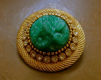 Sphinx Jade Glass Brooch Signed Rare 22 Rhinestones Flowery Bright Green Plaque Gold Plated Beading Mesh Setting Gorgeous Design & Details