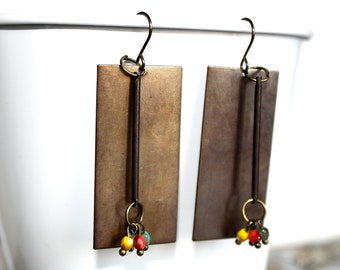 Rectangle Antiqued Bronze Earrings with Czech Glass Beads
