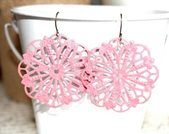 Pink Filigree Earrings Boho Earrings Dangle Earrings