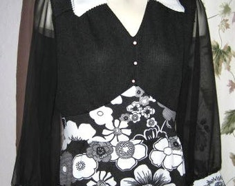 Vintage 60s Black and White Mod Floral Print Long Dress with Sheer Sleeves- Plus Size