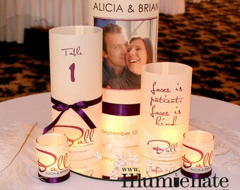 5 piece Photo Luminary Centerpiece Set  - Table Number - Quotes - Wedding Reception-32 sets