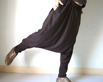 Women Men Pants - Drop Crotch Dark Brown Stretch Cotton Pants With 2 Side Pockets And Elastic Waist Band
