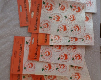 20 Packages Vintage Halloween Stickers Glittery Sparkly Jack O Lantern Big Lot, Free Shipping