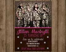 Duck Dynasty Birthday Invitation for Girl, Duck Dynasty Girl Invite, Camo Girl Invite, Country Girl Invitation, Digital File, Printable 5x7