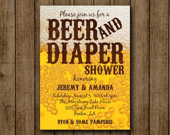 Beer and Diaper Baby Shower Invitation, Man Baby Shower, Beer, BYOB, Diaper Shower Dad Invite JPEG 5x7 Digital File Printable jpeg pdf DIY