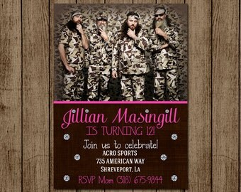 Duck dynasty birthday party invite childrens party duck dynasty birthday invitation for girl duck dynasty girl invite camo girl invite bookmarktalkfo Choice Image