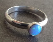 Dazzling blue opal ring sterling silver for solo wear or stacking