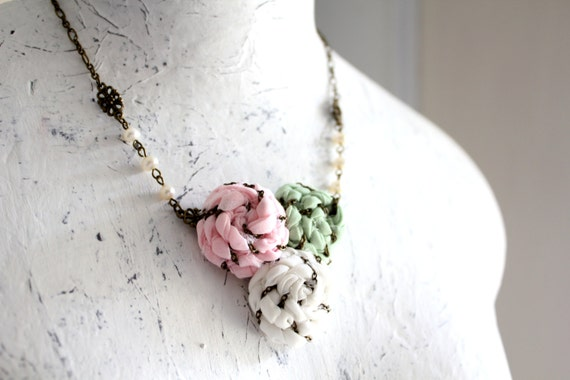 Sense and Sensibility/ Three small roses/Pink white mint green fabric flowers/ Antiqued brass chain/ River pearls