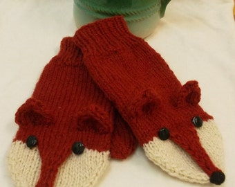 Knit Fox    Red Fox Mittens Gloves Pure Wool Adult Size Made to order