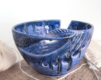 Cobalt Blue Yarn Bowl, knitting bowl, Ceramic Crochet Bowl, Handmade Pottery Vessel twisted Leaf Large Housewares - MADE TO ORDER