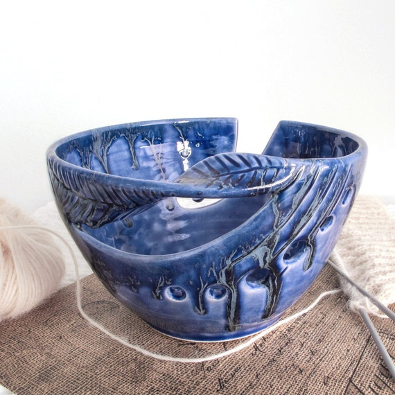 Crochet Yarn Bowl : Cobalt Blue Yarn Bowl, knitting bowl, Ceramic Crochet Bowl, Handmade ...