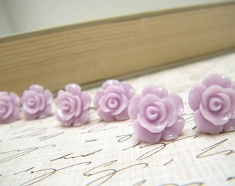 Three (3) Pair Lavender Flower Earrings, Purple Rose Earrings, Stud Earrings, Bridesmaid Jewelry, Vintage Style Earrings - Lavender Rose