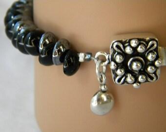 Black and Hematite Piggy Beads Bracelet