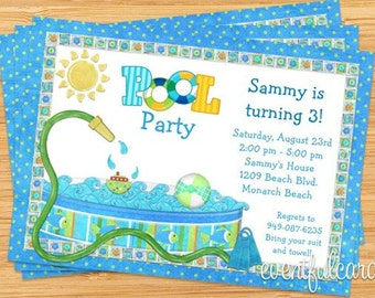 Kids Backyard Pool Party Birthday Invitation
