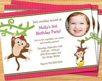 Cute Monkey Banana Birthday Party Invitation with Photo