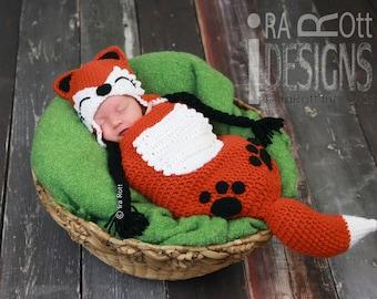 Modelo del ganchillo del bebé Roxy Red Fox sombrero y dormir Patrón Bolsa Conjunto de ganchillo en PDF