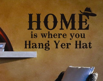 Hang Cowboy Hat Decal, Vinyl Wall Lettering, Vinyl Wall Decals, Vinyl Letters, Vinyl Lettering, Wall Quotes, Home Decal, Western Decal