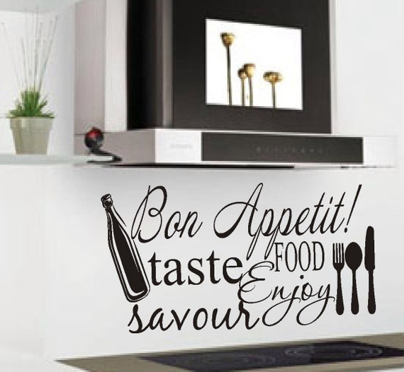 Vinyl Wall Lettering Kitchen Quote Bon Appetit Collage Decal