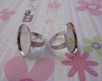 20pcs Adjustable Antique Silver Ring Blanks 25mmx18mm