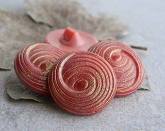 Vintage Glass Button, Embossed Spiral Glass Button, Opaque Carrot Persimmon & Golden Luster,  22mm ( 6 pcs) NEW