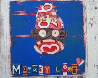 Sock Monkey Love License Plate Artwork - Playroom Funky Bathroom Beach House - Sealife Beach Nautical - Recycled Vintage - Upcycled Art