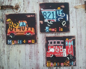 License Plate Art - Truck Trio Firetruck Dog in Truck Dumptruck Transportation - Recycled Art Company - Nursery Playroom  - Upcycled Artwork