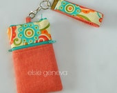 Made to Order Celosia Orange or Aqua  Linen Green Floral Paisley Phone Case Zipper Closure iPhone 4 5 6 Plus Note Large