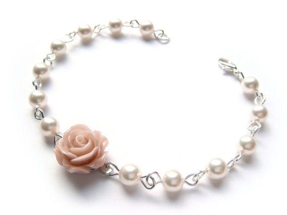 Pink Rose Bracelet With Swarovski Cream Pearls - Small Dusty Pink Rose Delicate Bracelet
