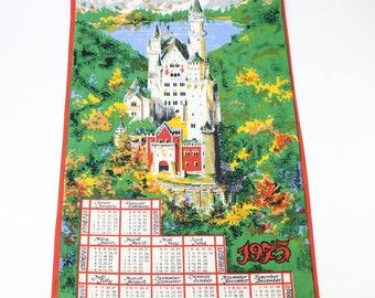 Vintage German Castle 1975 Linen Wall Calendar