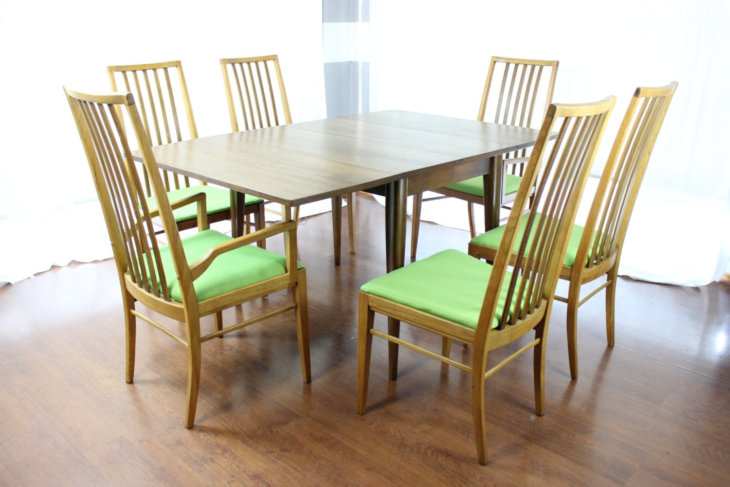 1960s danish modern dining room table and chairs