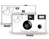 Coupled Hearts Wedding Disposable Camera -- 20 cameras - FUJI high speed color film, with flash-can be personalized-wedding camera (50346)