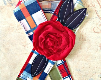 Madras Plaid Headwrap Tie Headband Red Flower Head Wrap Red White Navy Green Orange Pink Plaid 4th of July Headband Knotted Headwrap Gift