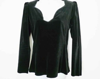 SALE  Saint Laurent black velvet evening top with sweetheart neckline