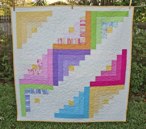 Log Cabin Lap Quilt - Benartex Girl Talk - Baby Blanket - Quilted Play Mat - Cot Crib Quilt - Nursery Decor - Cheerful Log Cabin - Quilts