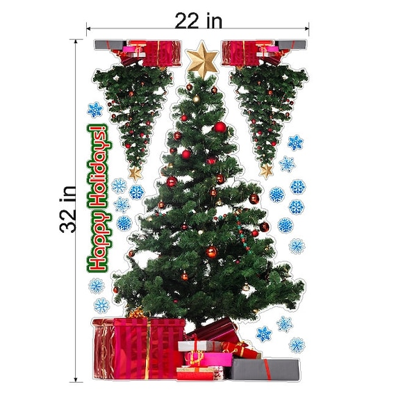 Static cling christmas trees and snowflakes holiday screen