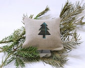 Balsam Fir Pillow in Linen with Mini Plaid Tree Applique - Olive and Teal Plaid