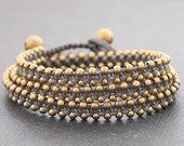 Grey Stud Brass Wrap Bracelet