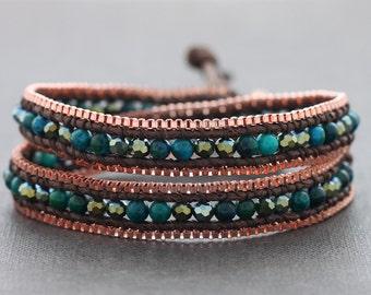 Malachite Faceted Copper Double Wrap Bracelet