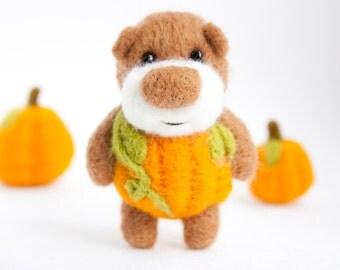 Felted miniature pumpkin pocket bear - made to order