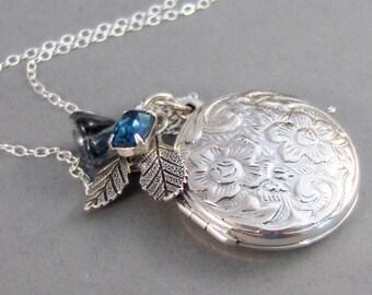Sapphire Maiden,Locket,Sapphire Locket,Sapphire Necklace,Sterling Silver Locket,Flower,Blue,Sapphire,Sterling SilverNeclace.valleygirldesign