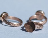 Copper Ring Vine Grapes Wire Pattern with Round Bezel Cup 11mm for Resin Gluing or Setting - Size 6