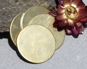 Disc Blank 28mm Bronze or Brass Cutout for Enameling Soldering Stamping Texturing - 5 Pieces