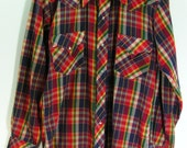 pearl snap western shirt mens medium M plaid red blue green cowboy rockabilly long sleeved vintage