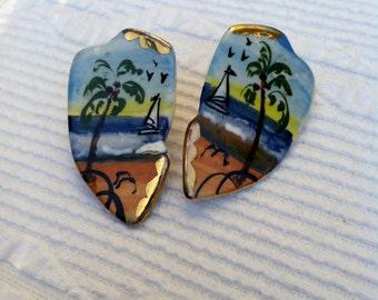Vintage Hand Painted Ceramic Earrings Artisan Jewelry
